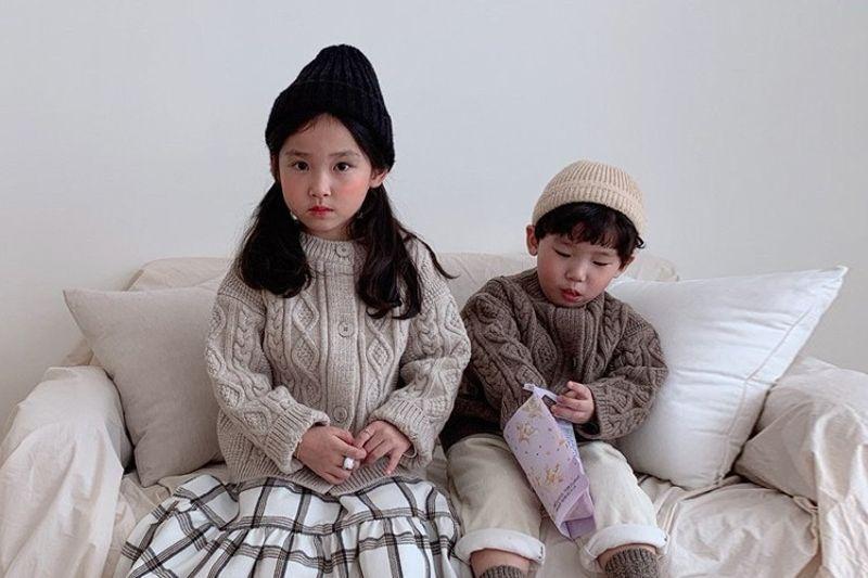 DAILY BEBE - BRAND - Korean Children Fashion - #Kfashion4kids - Wool Twist Cardigan