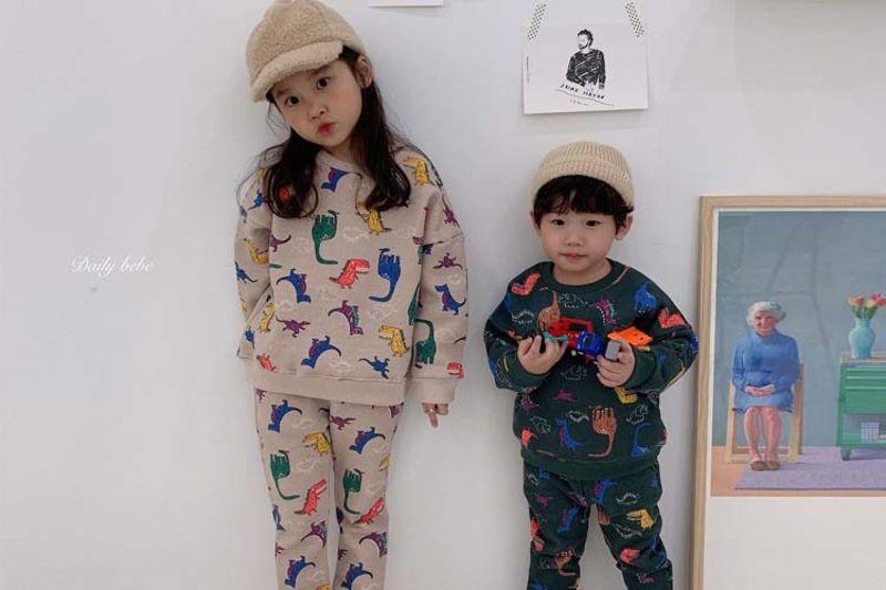 DAILY BEBE - BRAND - Korean Children Fashion - #Kfashion4kids - Dino Top Bottom Set