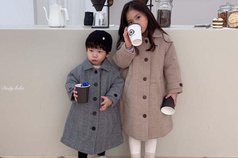 DAILY BEBE - BRAND - Korean Children Fashion - #Kfashion4kids - Herringbone Coat