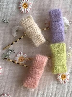 DE LEESUL - BRAND - Korean Children Fashion - #Kfashion4kids - Pogni Knit Hairpin [set of 4]