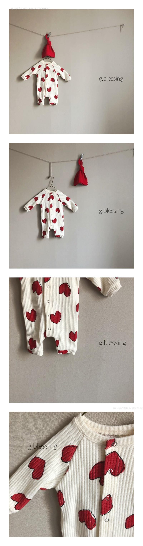 G BLESSING - Korean Children Fashion - #Kfashion4kids - Heart Waffle Bodysuit with Bonnet