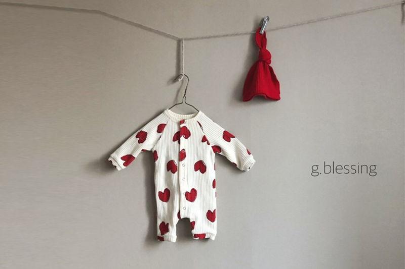 G BLESSING - BRAND - Korean Children Fashion - #Kfashion4kids - Heart Waffle Bodysuit with Bonnet
