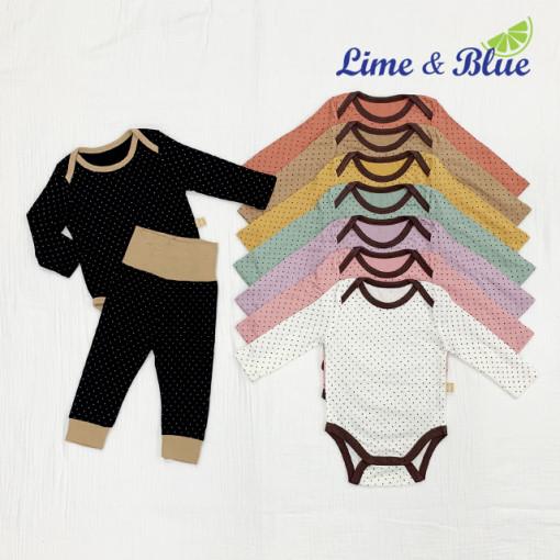 LIME & BLUE - BRAND - Korean Children Fashion - #Kfashion4kids - Dot Heat Bodywuit with Pants
