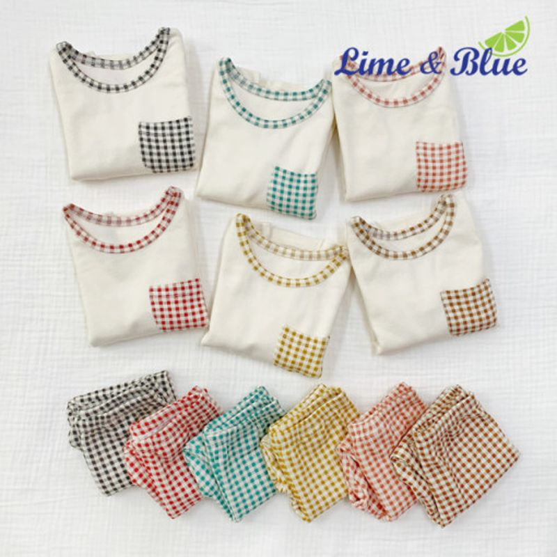 LIME & BLUE - BRAND - Korean Children Fashion - #Kfashion4kids - Pocket Check Easywear