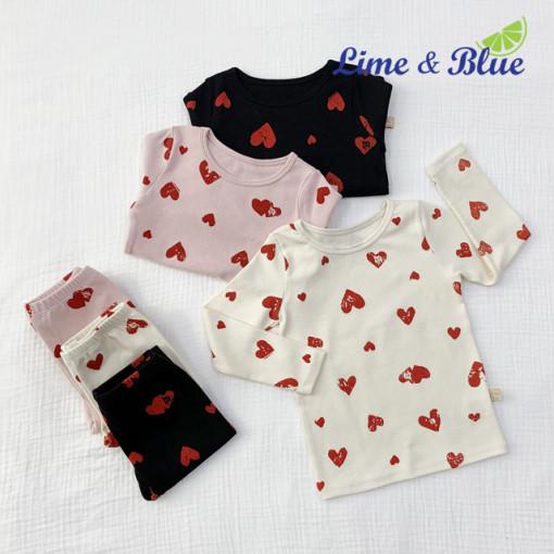 LIME & BLUE - BRAND - Korean Children Fashion - #Kfashion4kids - Heart Heart Easywear