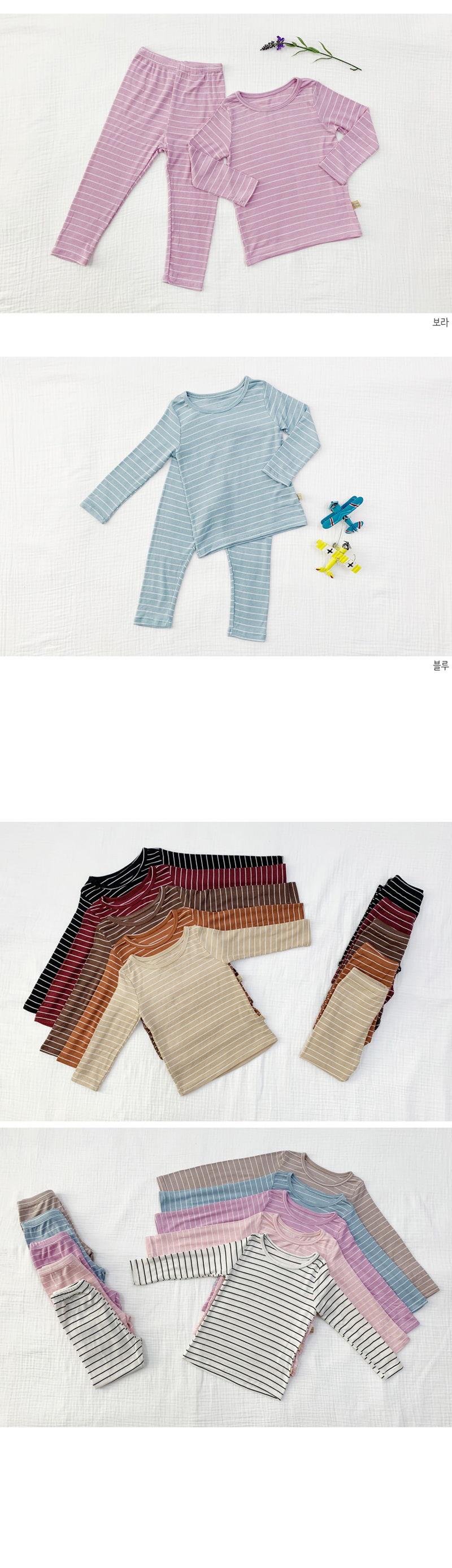 LIME & BLUE - Korean Children Fashion - #Kfashion4kids - Stripe Heat Easywear - 4