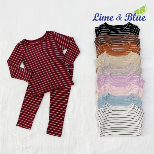 LIME & BLUE - BRAND - Korean Children Fashion - #Kfashion4kids - Stripe Heat Easywear