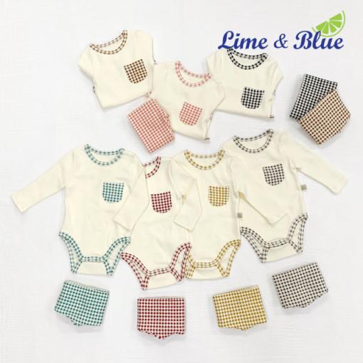 LIME & BLUE - BRAND - Korean Children Fashion - #Kfashion4kids - Check Bodysuit with Pants