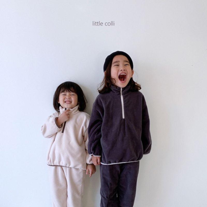 LITTLE COLLI - Korean Children Fashion - #Kfashion4kids - Fleece Top Bottom Set