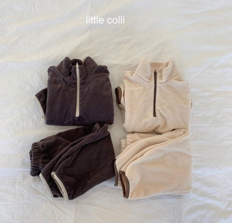LITTLE COLLI - Korean Children Fashion - #Kfashion4kids - Fleece Top Bottom Set - 12