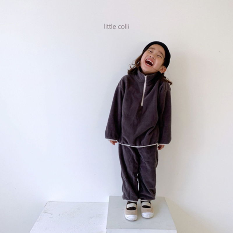 LITTLE COLLI - Korean Children Fashion - #Kfashion4kids - Fleece Top Bottom Set - 3