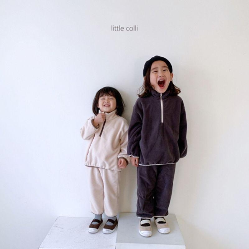LITTLE COLLI - Korean Children Fashion - #Kfashion4kids - Fleece Top Bottom Set - 6