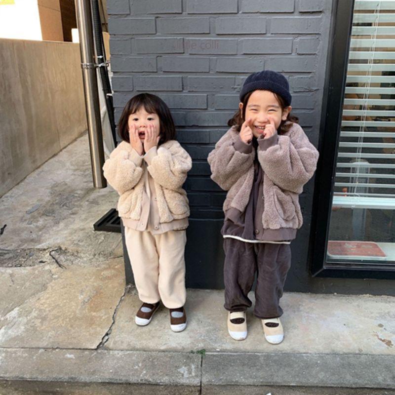 LITTLE COLLI - Korean Children Fashion - #Kfashion4kids - Fleece Top Bottom Set - 8