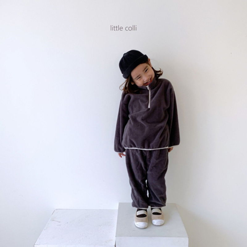 LITTLE COLLI - Korean Children Fashion - #Kfashion4kids - Fleece Top Bottom Set - 9