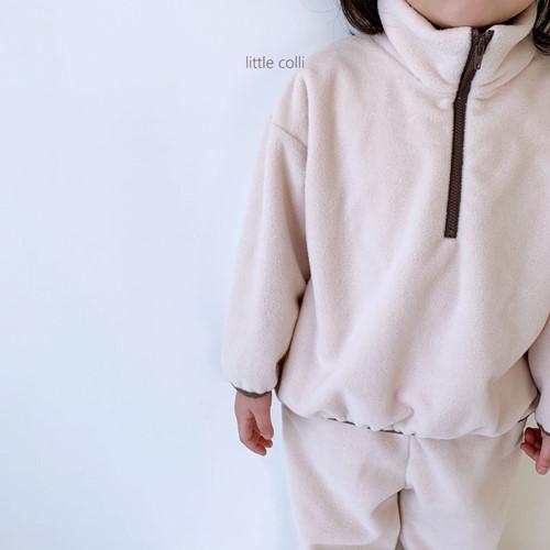 LITTLE COLLI - BRAND - Korean Children Fashion - #Kfashion4kids - Fleece Top Bottom Set