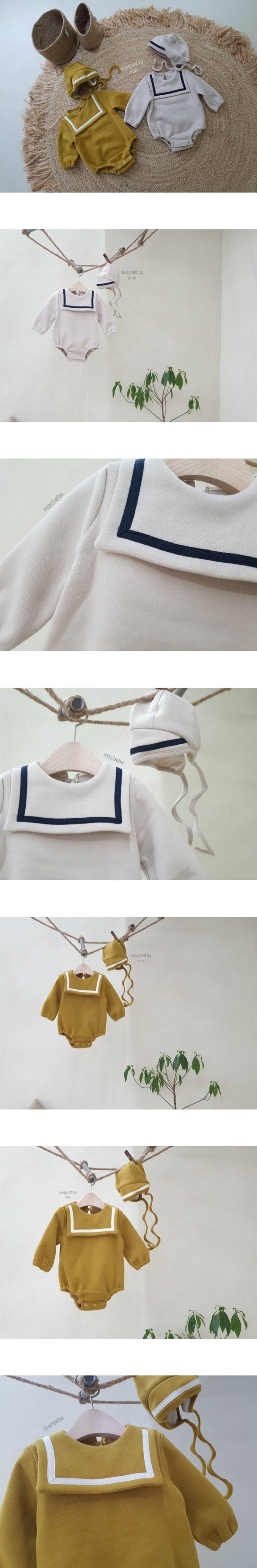 MAC - Korean Children Fashion - #Kfashion4kids - Square Bodysuit with Bonnet