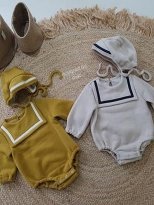 MAC - BRAND - Korean Children Fashion - #Kfashion4kids - Square Bodysuit with Bonnet