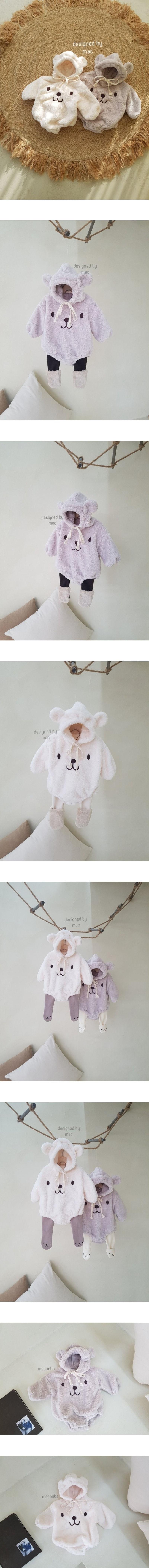 MAC - Korean Children Fashion - #Kfashion4kids - Bear Embroidery Bodysuit