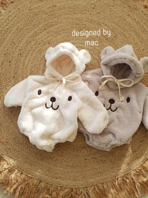 MAC - BRAND - Korean Children Fashion - #Kfashion4kids - Bear Embroidery Bodysuit