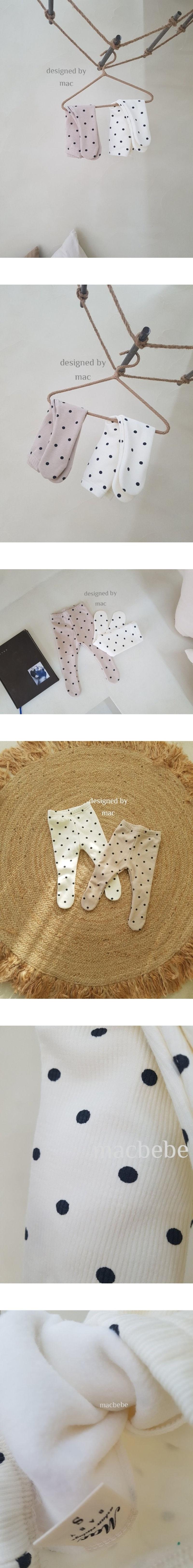 MAC - Korean Children Fashion - #Kfashion4kids - Fleece Dot Foot Leggings