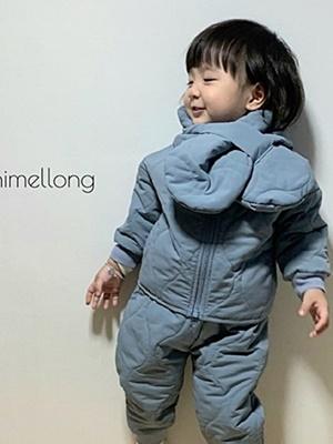 MINIMELLONG - BRAND - Korean Children Fashion - #Kfashion4kids - Quilting Top Bottom Set with Neck Warmer