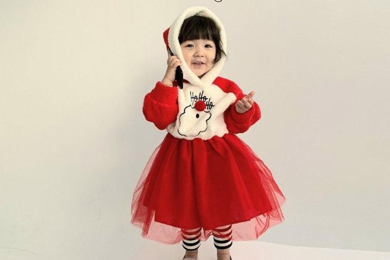 MINIMELLONG - BRAND - Korean Children Fashion - #Kfashion4kids - Santa Hood Cha One-piece