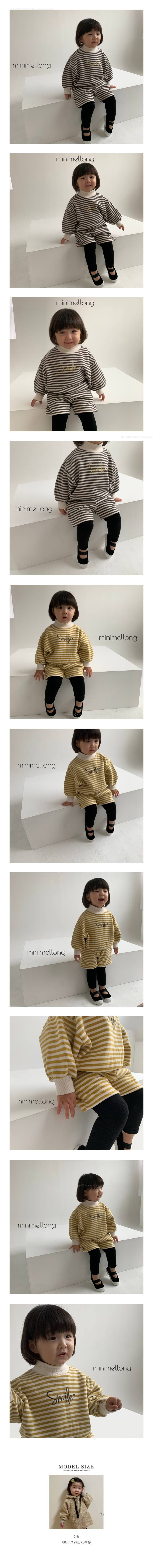 MINIMELLONG - Korean Children Fashion - #Kfashion4kids - Smile Stripe Top Bottom Set
