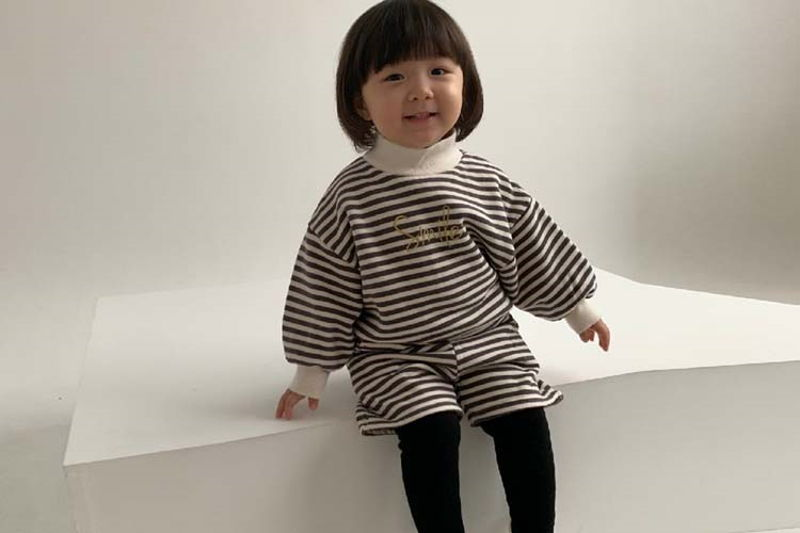 MINIMELLONG - BRAND - Korean Children Fashion - #Kfashion4kids - Smile Stripe Top Bottom Set