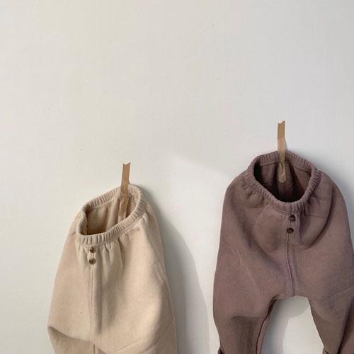 MONBEBE - Korean Children Fashion - #Kfashion4kids - Fleece Button Pants - 2