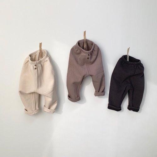 MONBEBE - BRAND - Korean Children Fashion - #Kfashion4kids - Fleece Button Pants