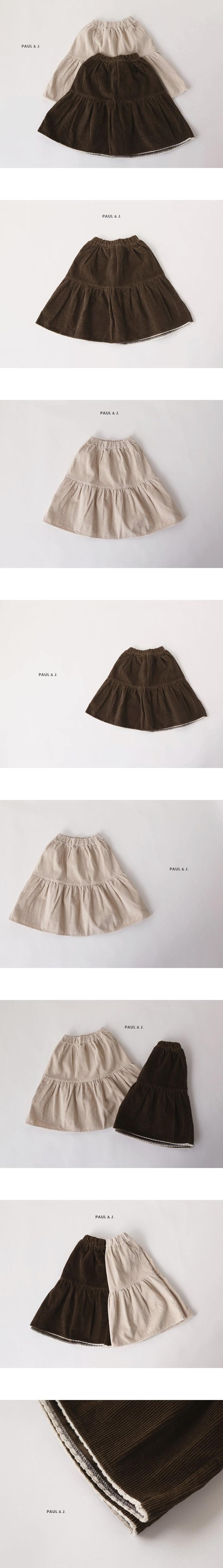 PAUL & J - Korean Children Fashion - #Kfashion4kids - Corduroy Long Skirt