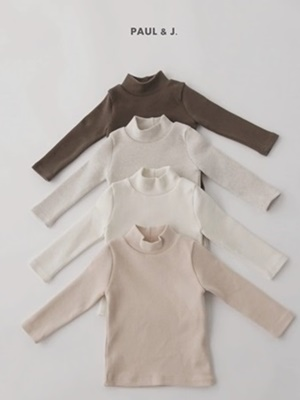 PAUL & J - BRAND - Korean Children Fashion - #Kfashion4kids - Muffin Half Turtleneck Tee