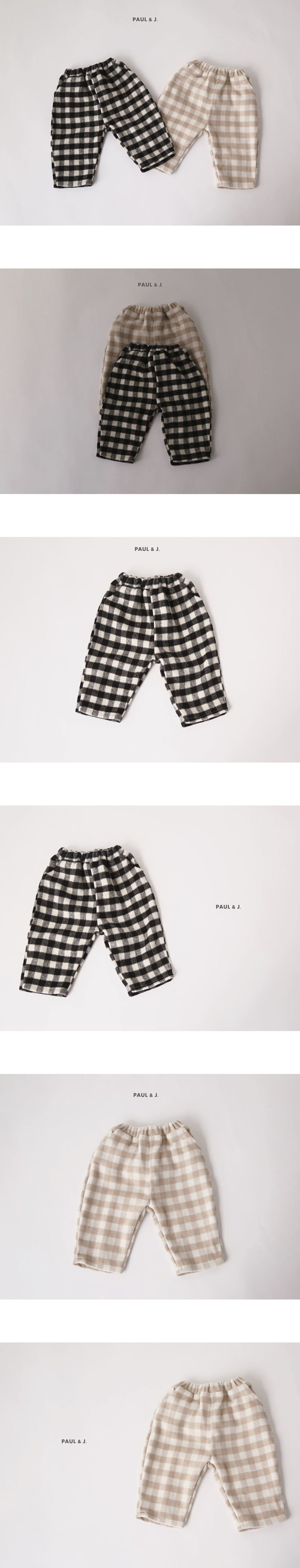 PAUL & J - Korean Children Fashion - #Kfashion4kids - Vanilla Check Pants