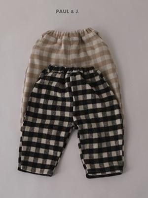 PAUL & J - BRAND - Korean Children Fashion - #Kfashion4kids - Vanilla Check Pants