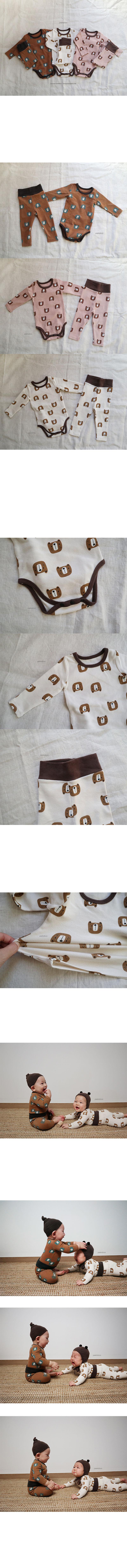 PEEKABOO - Korean Children Fashion - #Kfashion4kids - Bear Bodysuit with Pants