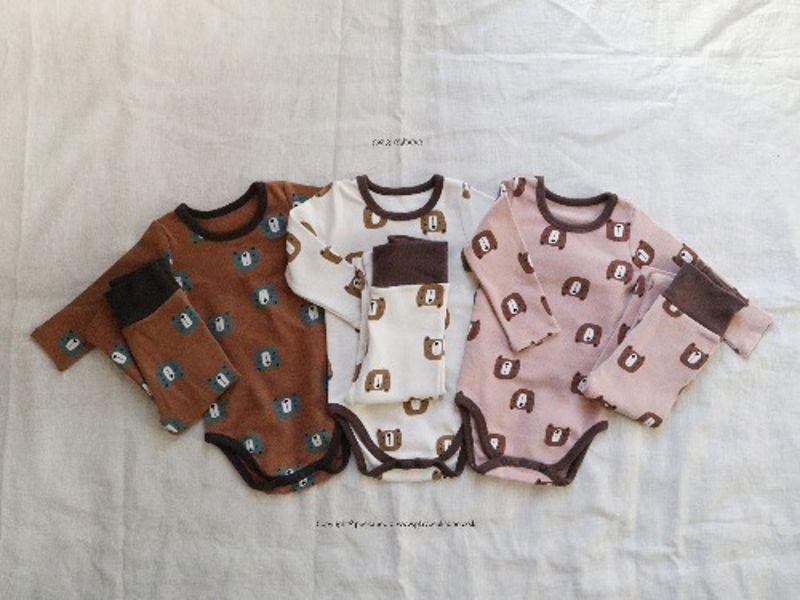 PEEKABOO - BRAND - Korean Children Fashion - #Kfashion4kids - Bear Bodysuit with Pants