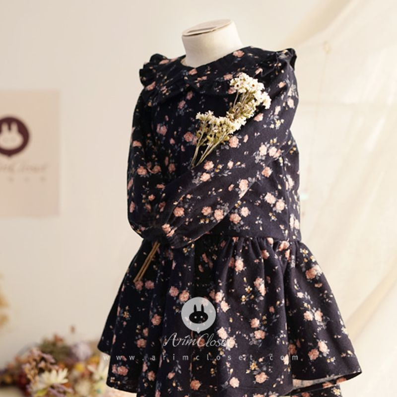 ARIM CLOSET - BRAND - Korean Children Fashion - #Kfashion4kids - Dark Navy Flower Warm Dress