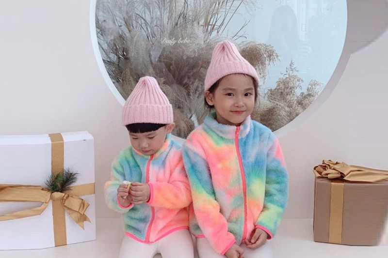 DAILY BEBE - BRAND - Korean Children Fashion - #Kfashion4kids - Rainbow Fleece Jacket