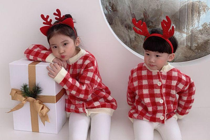 DAILY BEBE - BRAND - Korean Children Fashion - #Kfashion4kids - Check Cardigan