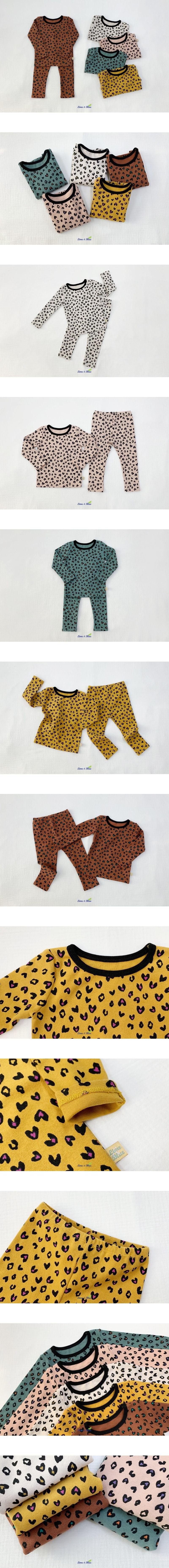 LIME & BLUE - Korean Children Fashion - #Kfashion4kids - Heart Leopard Easywear