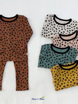 LIME & BLUE - BRAND - Korean Children Fashion - #Kfashion4kids - Heart Leopard Easywear