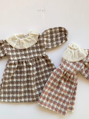 MIEL KIDS - BRAND - Korean Children Fashion - #Kfashion4kids - Wool Check One-piece