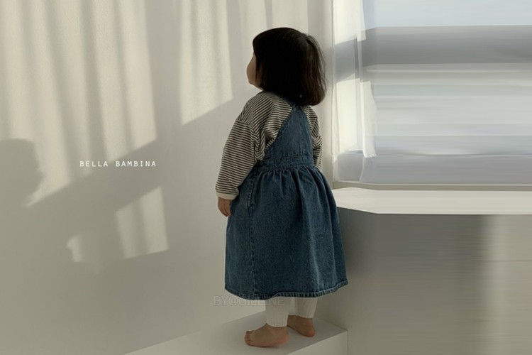 BELLA BAMBINA - BRAND - Korean Children Fashion - #Kfashion4kids - Denim Suspenders Dress