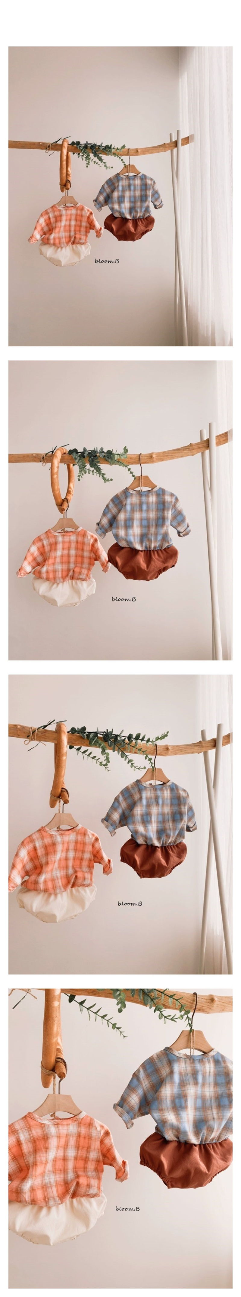BLOOM B - Korean Children Fashion - #Kfashion4kids - Check Bebe Bodysuit