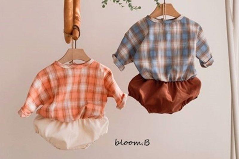 BLOOM B - BRAND - Korean Children Fashion - #Kfashion4kids - Check Bebe Bodysuit