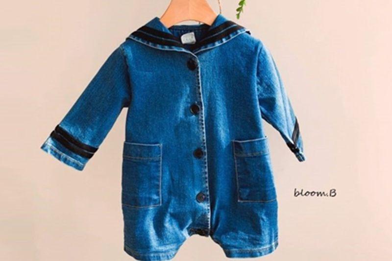 BLOOM B - BRAND - Korean Children Fashion - #Kfashion4kids - Sailor Denim Bodysuit