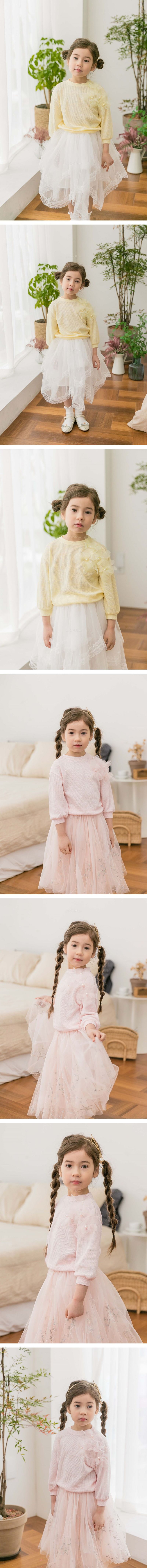 COCO RIBBON - Korean Children Fashion - #Kfashion4kids - Flower Knit Pullover