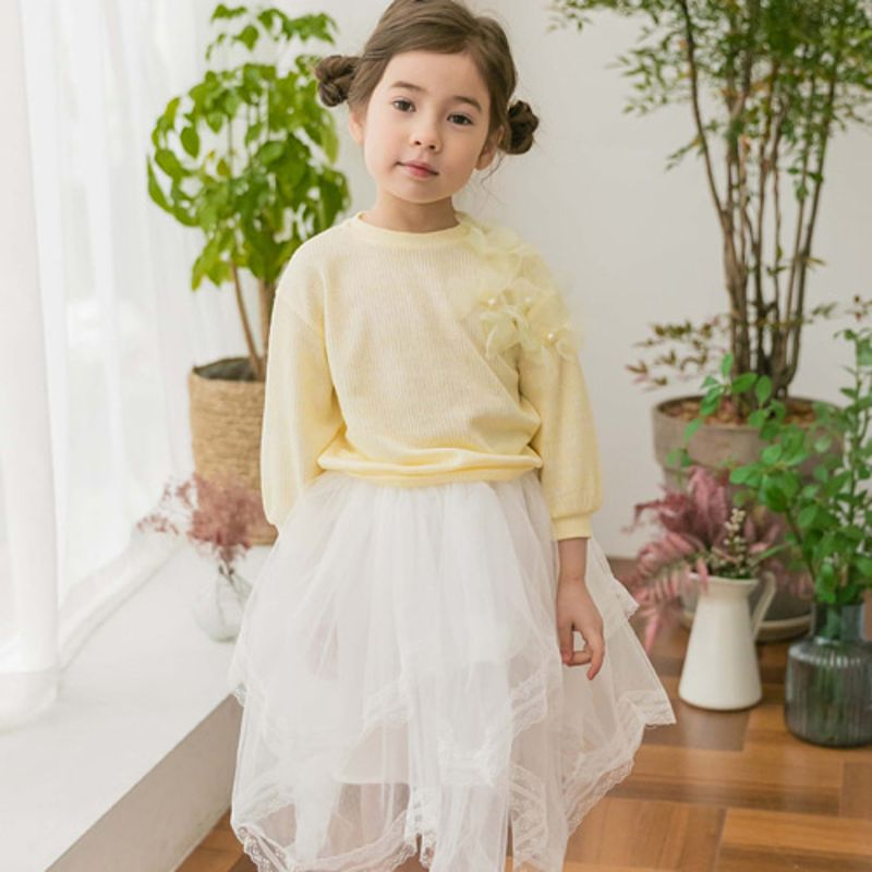 COCO RIBBON - BRAND - Korean Children Fashion - #Kfashion4kids - Flower Knit Pullover