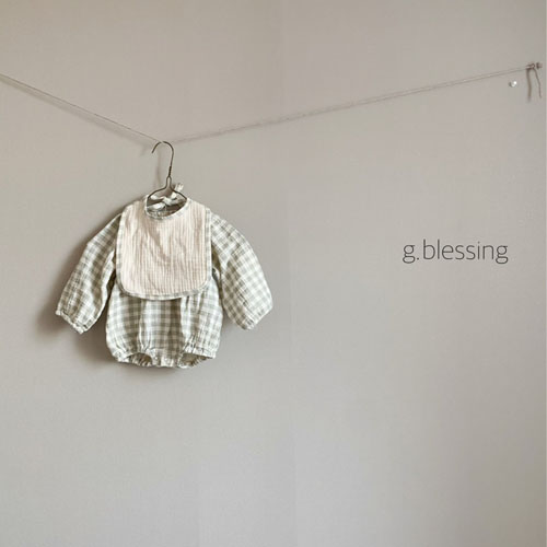 G BLESSING - Korean Children Fashion - #Kfashion4kids - Honey Check Bodysuit with Bib