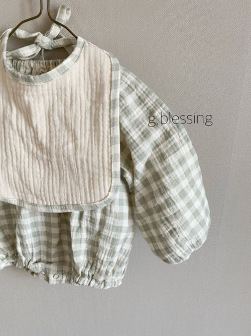 G BLESSING - Korean Children Fashion - #Kfashion4kids - Honey Check Bodysuit with Bib - 2